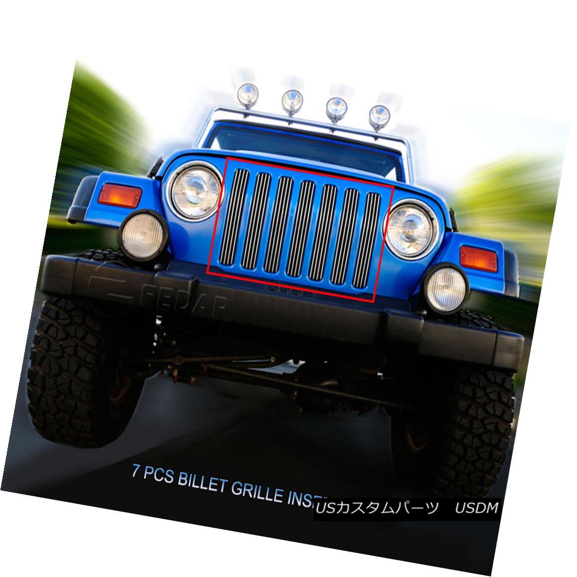 グリル Fits 1997-2006 Jeep Wrangler Billet Grille Main Upper Grill Insert Fedar フィット1997-2006ジープラングラービレットグリルメインアッパーグリルインサートFedar