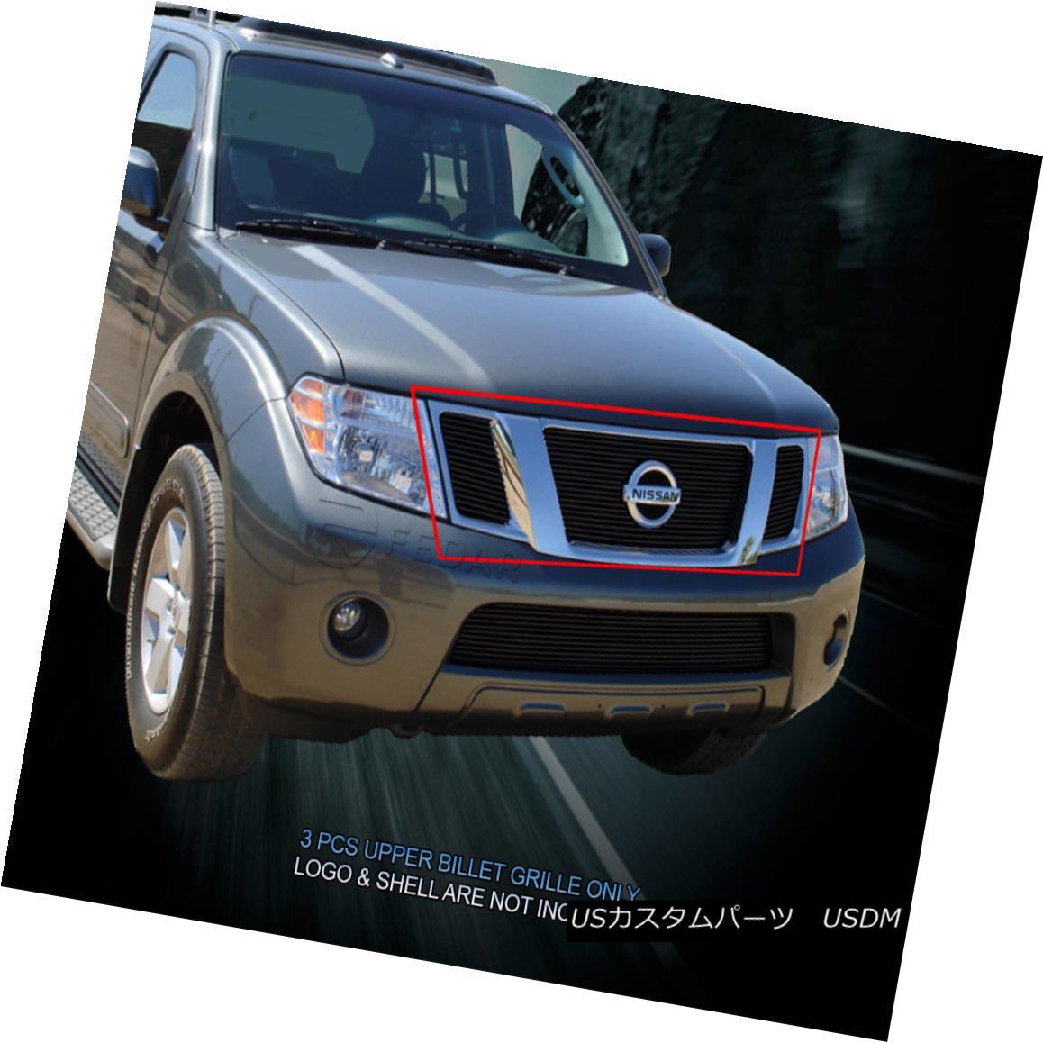 グリル Fits 08-12 Nissan Pathfinder Black Billet Grille Grill Upper Insert Fedar フィット08-12日産パスファインダーブラックビレットグリルグリルアッパーインサートフェルダー