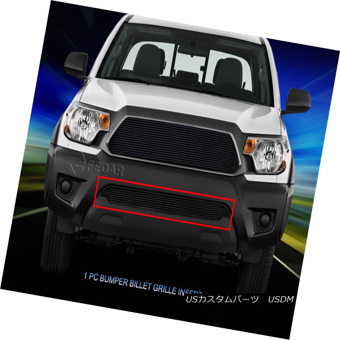 グリル Fits 2012-2015 Toyota Tacoma Black Billet Grille Grill Insert 2012-2015トヨタタコマブラックビレットグリルグリルインサート