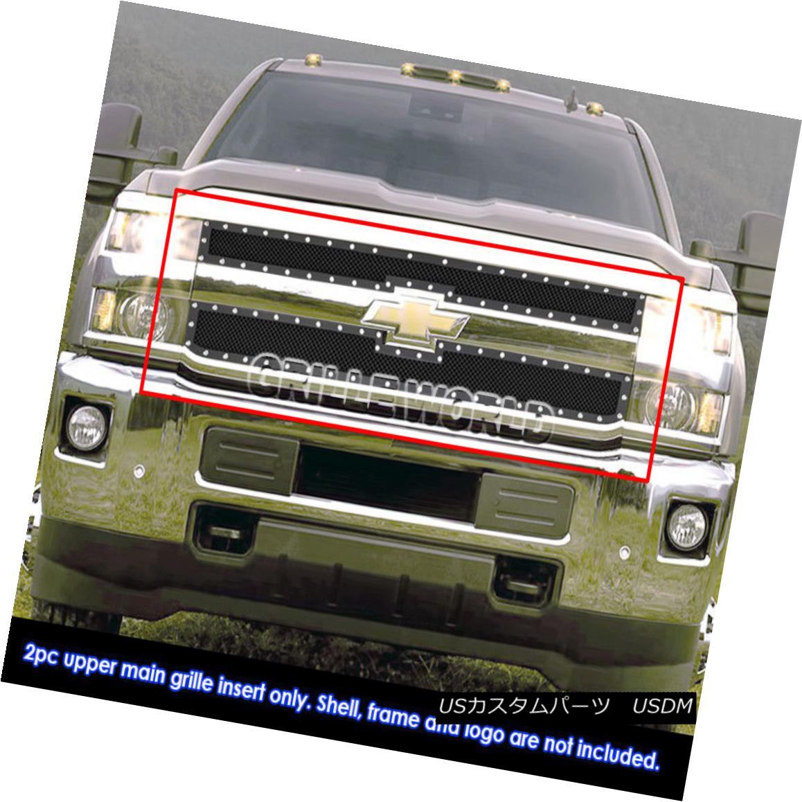 グリル Fits 2015-2018 Chevy 2500HD/3500HD Stainless Steel Black Rivet Studs Mesh Grille フィット2015-2018シボレー2500HD / 3500HDステンレススチールブラックリベットスタッドメッシュグリル