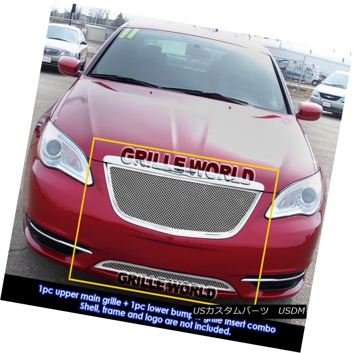 グリル For 2011-2014 Chrysler 200 Stainless Steel Mesh Grille Grill Combo Insert 2011-2014クライスラー200ステンレスメッシュグリルグリルコンボインサート