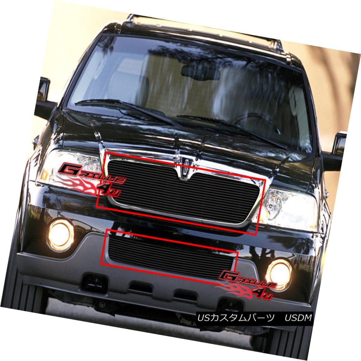 グリル For 03-04 Lincoln Navigator Black Billet Grille Combo 03-04リンカーンナビゲーターブラックビレットグリルコンボ用