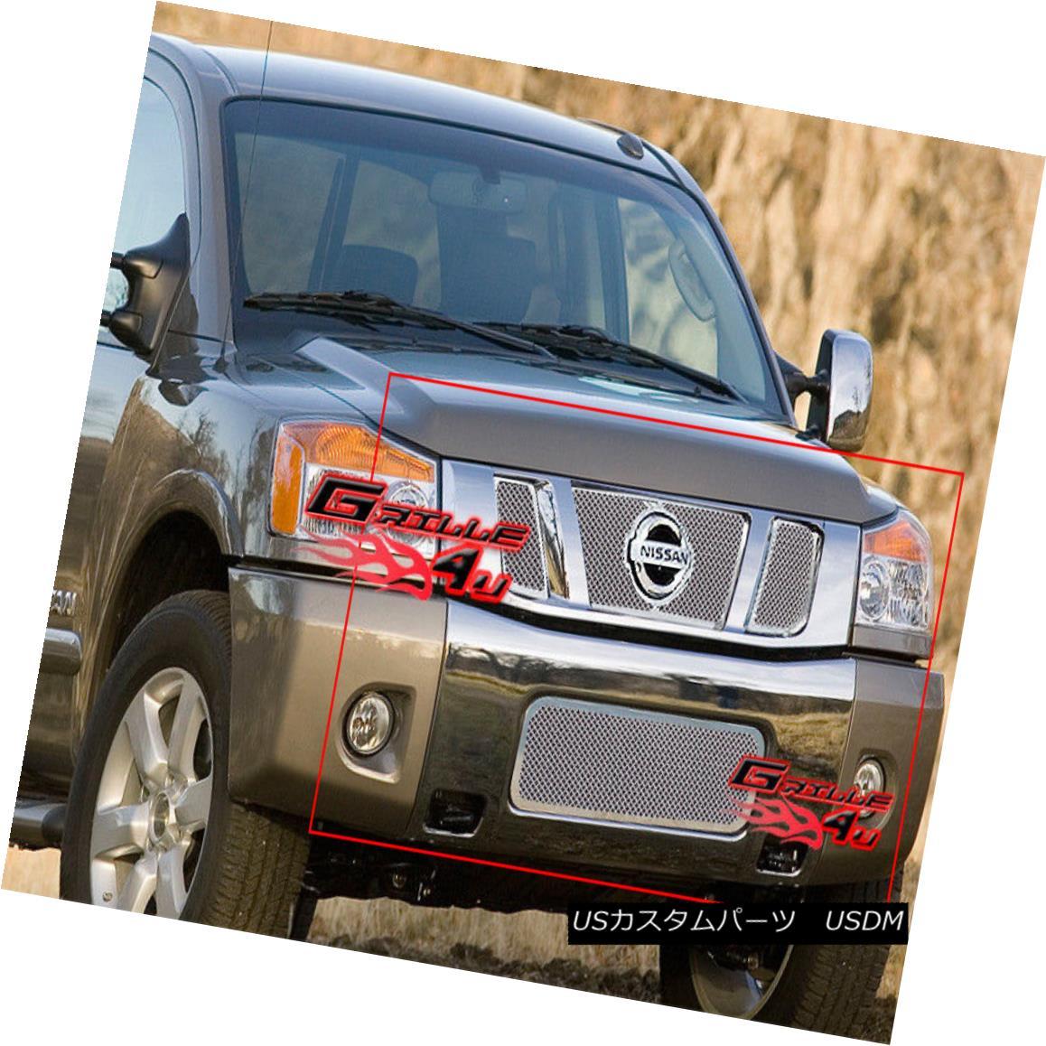グリル For 08-14 2013 2014 Nissan Titan Stainless Mesh Grille Combo 08-14 2013年2014 Nissan Titanステンレスメッシュグリルコンボ