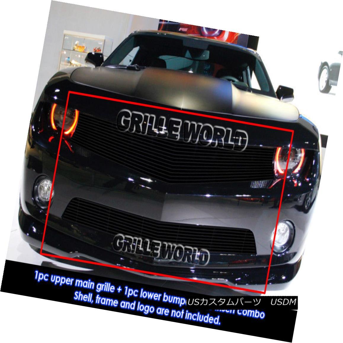 グリル For 2010-2013 Chevy Camaro LT/LS V6 Black Billet Grille Grill Insert Combo 2010-2013シボレーカマロLT / LS V6ブラックビレットグリルグリルインサートコンボ用
