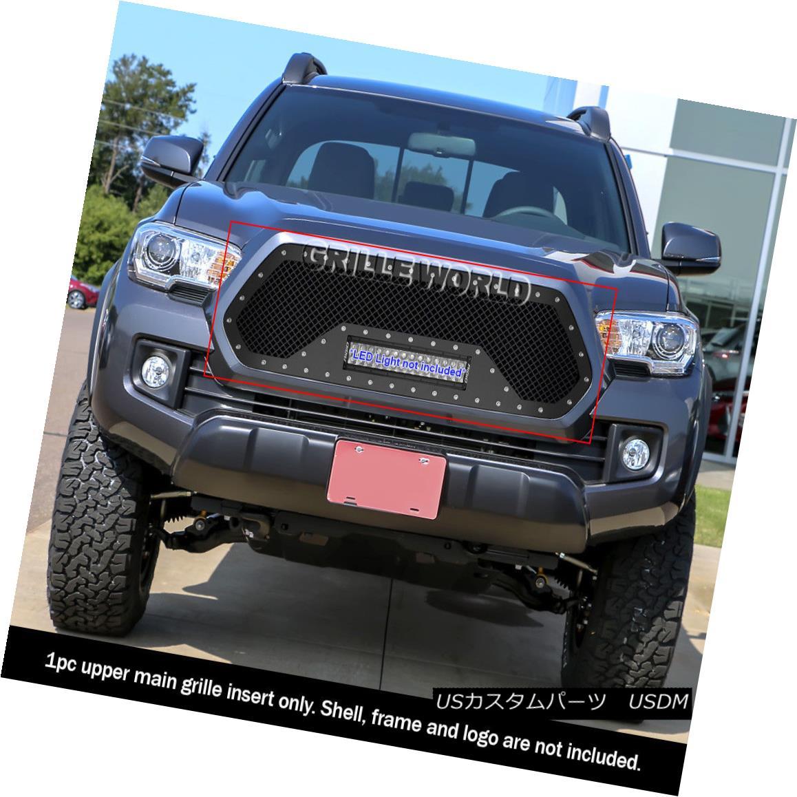 グリル For 2016-2018 Toyota Tacoma Stainless Steel Black Mesh Rivet Studs W/Cut Out 2016-2018トヨタタコマステンレススチールブラックメッシュリベットスタッドW /カットアウト