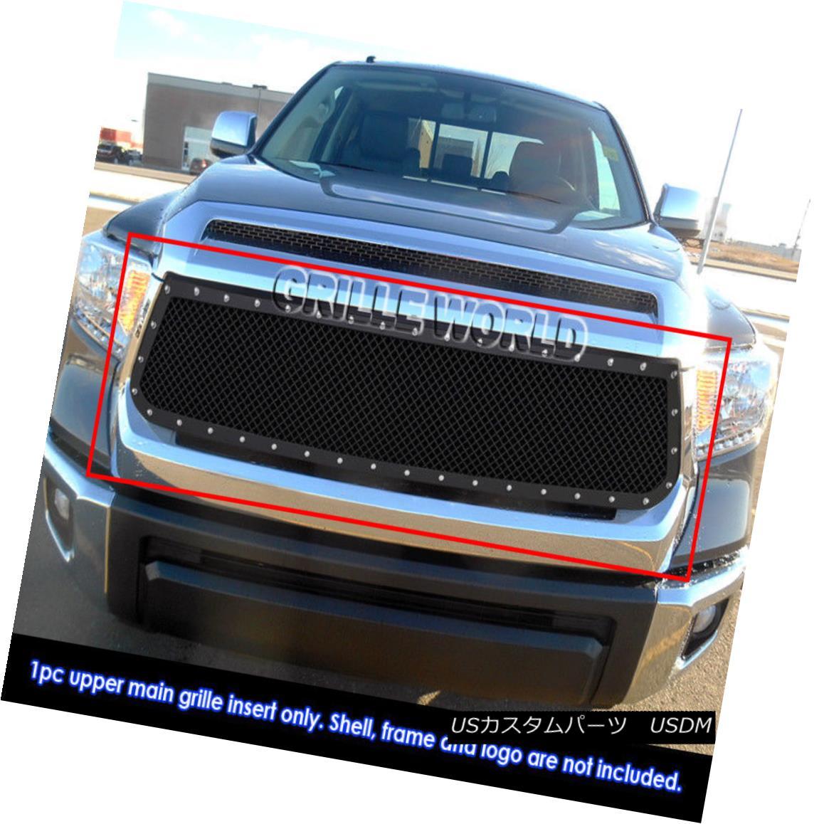 グリル Fits 2014-2018 Toyota Tundra Carbon Steel Black Rivet Studs Mesh Grille フィット2014-2018トヨタトンドラカーボンスチールブラックリベットスタッドメッシュグリル