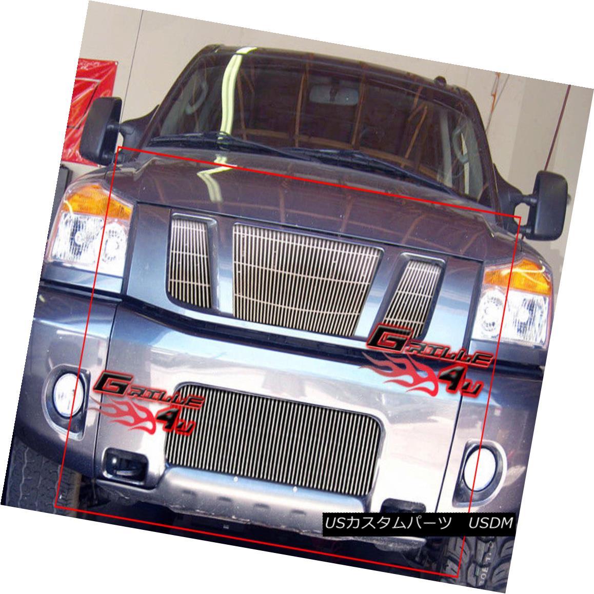 グリル For 08-14 2013 Nissan Titan Vertical Billet Grille Combo 08-14 2013日産タイタン縦型ビレットグリルコンボ