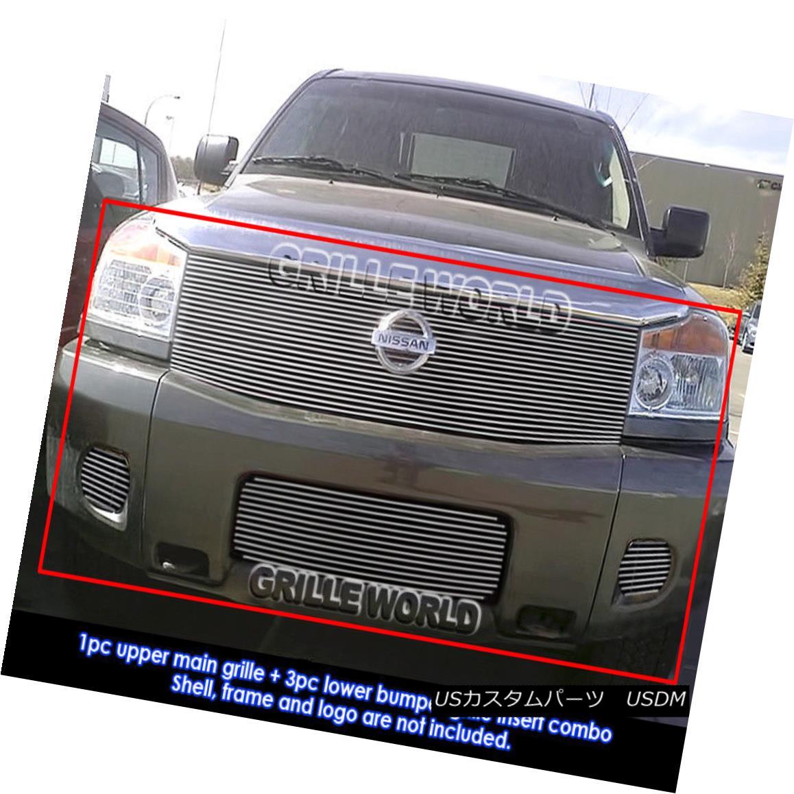 グリル Fits 2004-2007 Nissan Armada Billet Grille Grill Insert Combo フィット2004-2007日産アルマダビレットグリルグリルインサートコンボ