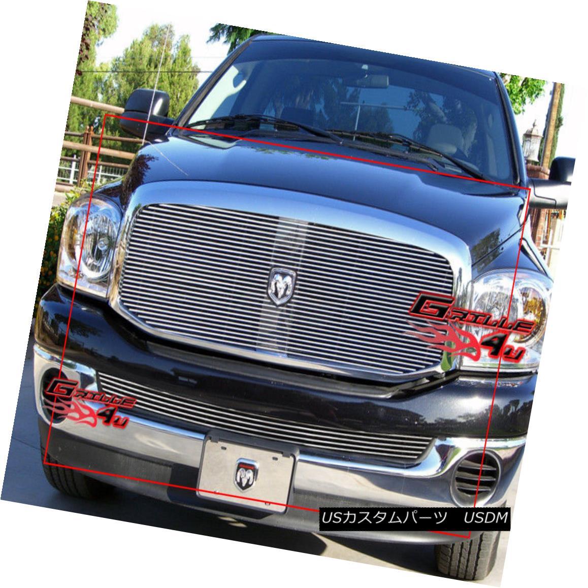グリル For 06-08 Dodge Ram Pickup Billet Grille Combo Insert 06-08ダッジラムピックアップビレットグリルコンボインサート
