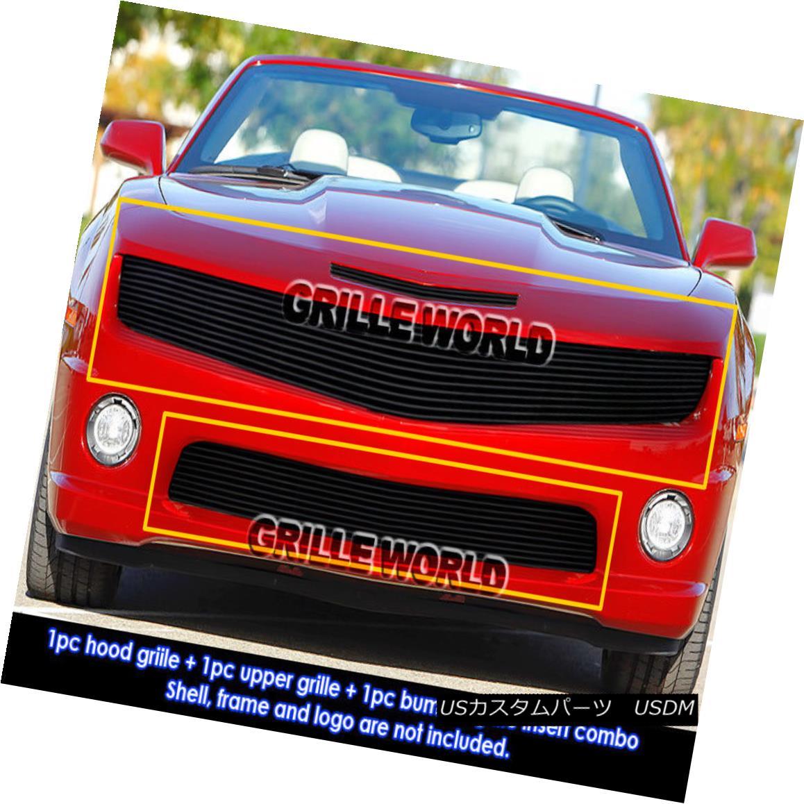 グリル For 2010-2013 Chevy Camaro SS V8 Black Billet Grille Grill Insert Combo 2010-2013シボレーカマロSS V8ブラックビレットグリルグリルインサートコンボ用