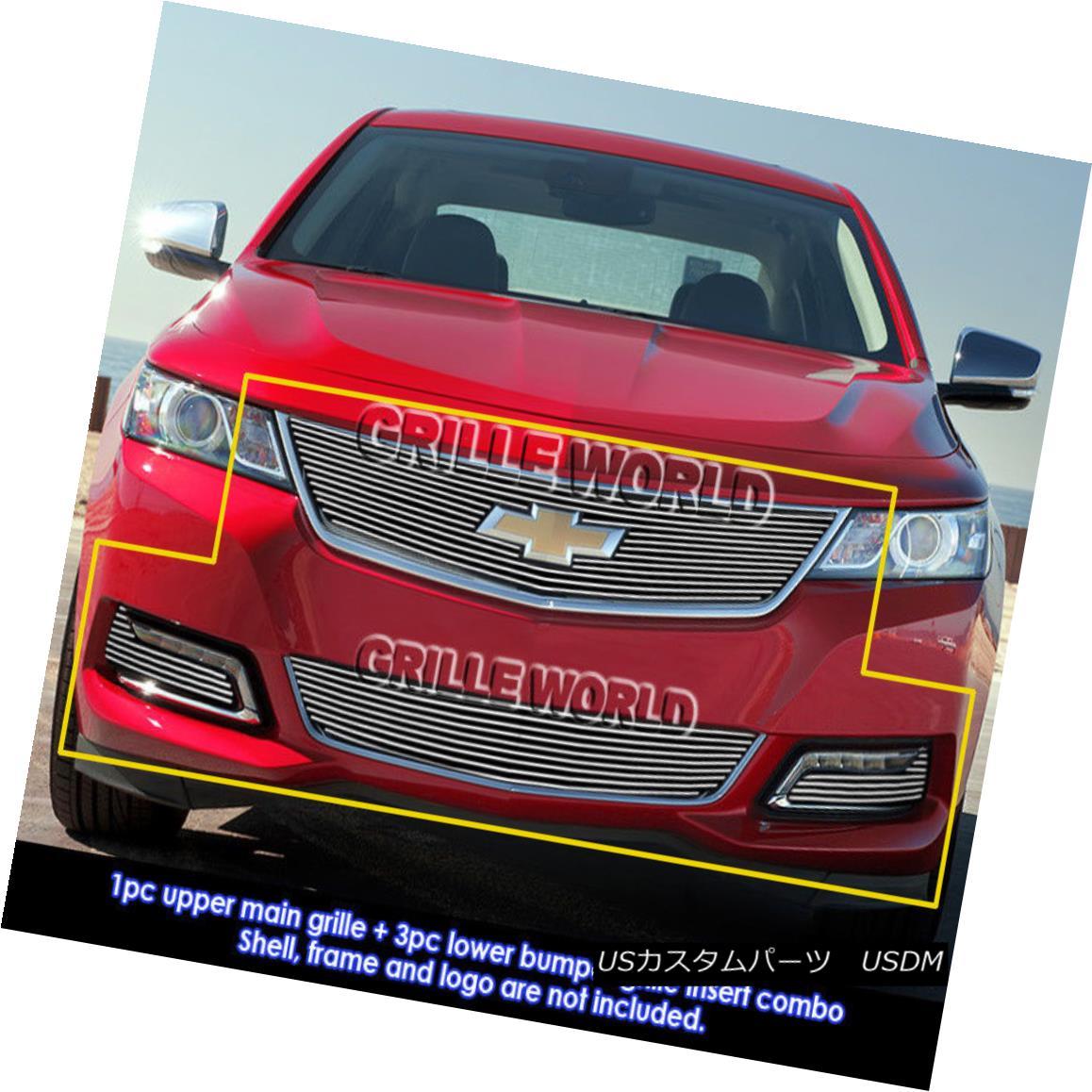 グリル For 2014-2015 Chevy Impala W/ Logo Show & Fog Light Cover Billet Grill Combo 2014-2015シボレーインパラW /ロゴショー& amp; フォグライトカバービレットグリルコンボ
