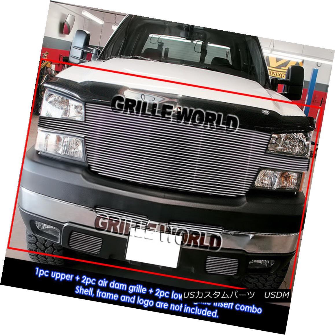 グリル Fits 2005-2006 Chevy Silverado 2500/3500 Full Face Billet Grille Grill Combo フィット2005-2006シボレーシルバラード2500/3500フルフェイスビレットグリルグリルコンボ