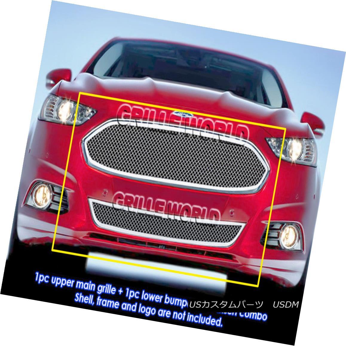 グリル For 2013-2014 Ford Fusion Stainless Steel Bolt Over Mesh Grill Insert Combo 2013年から2014年までフォードフュージョンステンレススチールボルトオーバーメッシュグリルインサートコンボ