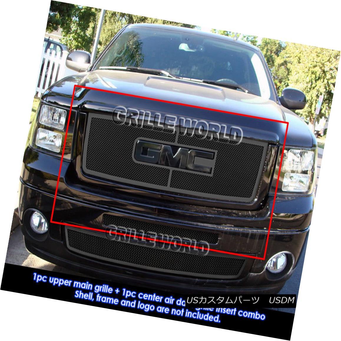 グリル Fits 07-2013 GMC Sierra 1500 New Body/07-2010 Denali Black Mesh Grille Combo フィット07-2013 GMC Sierra 1500ニューボディ/ 07-2010デナリブラックメッシュグリルコンボ