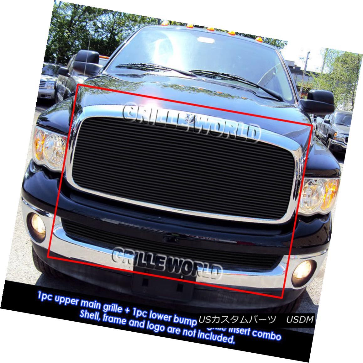 グリル For 02-05 Dodge Ram Regular Model Black Billet Grille Insert Combo 02-05ドッジラムレギュラーモデルブラックビレットグリルインサートコンボ