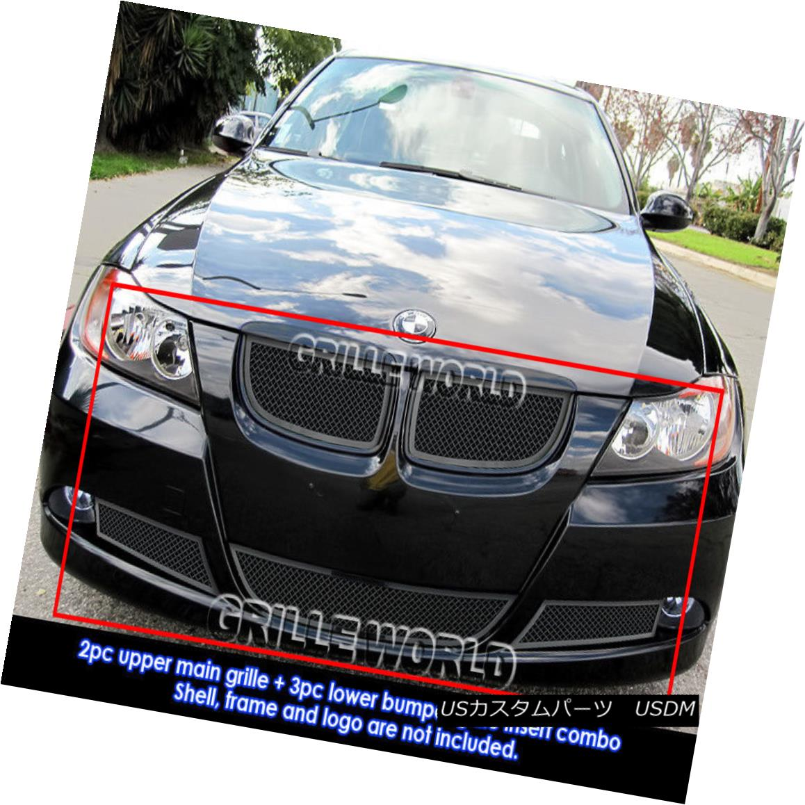グリル Fits 06-07 BMW 325I /2006-2007 BMW 330I Black Stainless Steel Mesh Grille Combo フィット06-07 BMW 325I / 2006-2007 BMW 330Iブラックステンレススチールメッシュグリルコンボ
