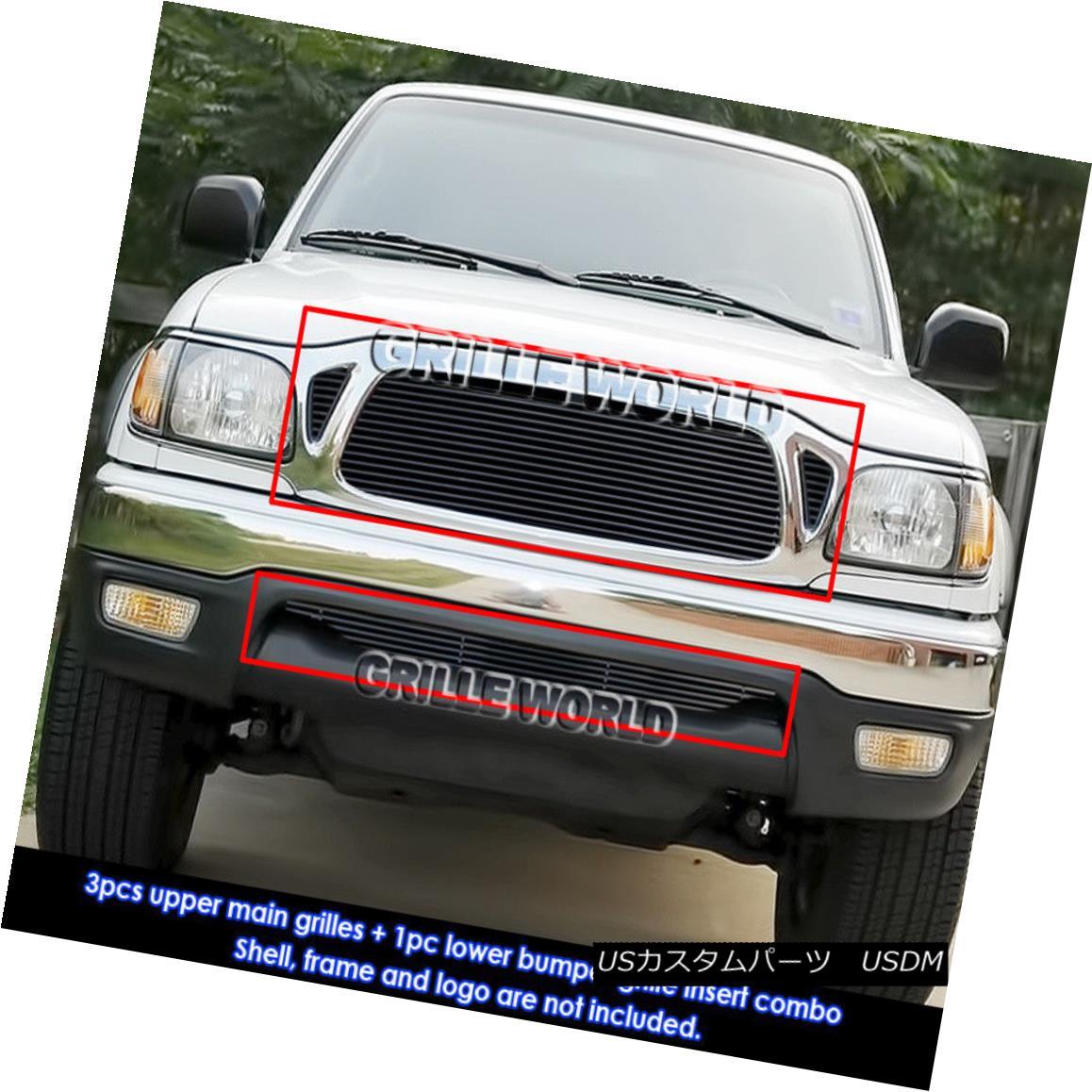 グリル For 01-04 Toyota Tacoma Black Billet Grille Combo Insert 01-04トヨタタコマブラックビレットグリルコンボインサート