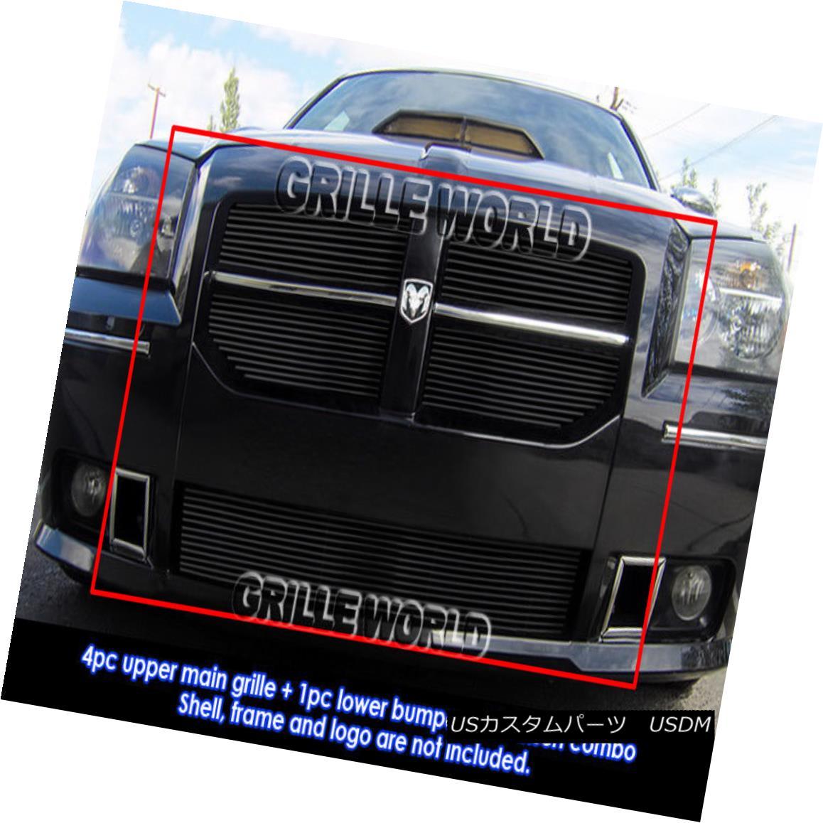 グリル Fits 2005-2007 Dodge Magnum SRT8 Black Billet Grille Grill Insert Combo フィット2005-2007ダッジマグナムSRT8ブラックビレットグリルグリルインサートコンボ