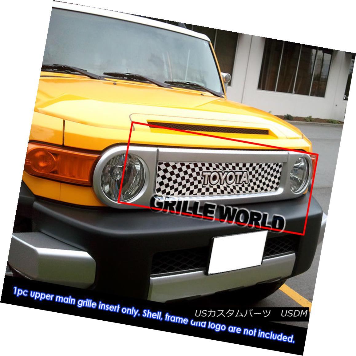 グリル Fits 2007-2016 Toyota FJ Cruiser Stainless Steel Symbolic Grille Insert フィット2007-2016トヨタFJクルーザーステンレススチールシンボルグリルインサート