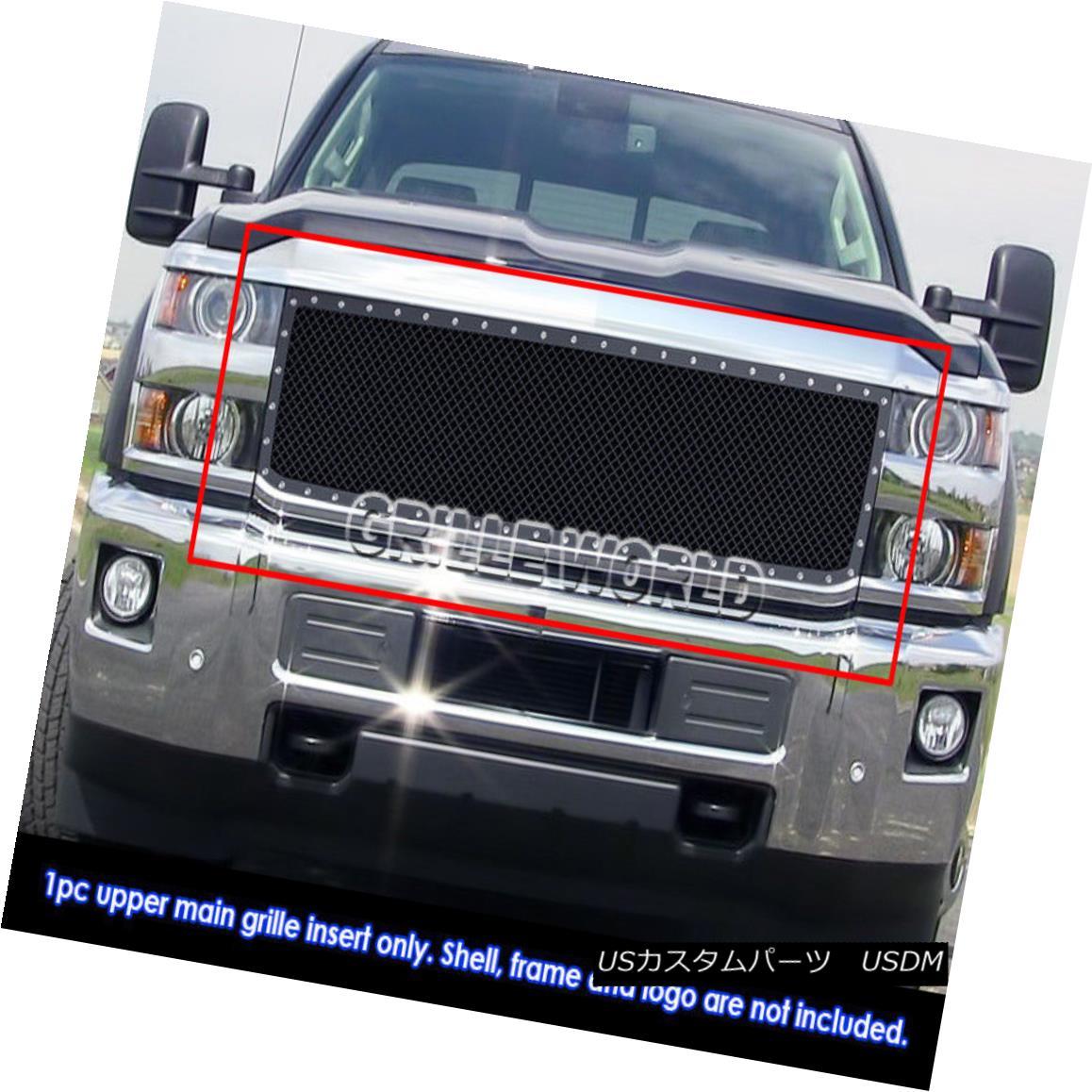 グリル Fits 15-18 Chevy Silverado 2500HD/ 3500HD Steel Black Mesh Rivet Studs Grile フィット15-18シボレーシルバラード2500HD / 3500HDスチールブラックメッシュリベットスタッドグリル