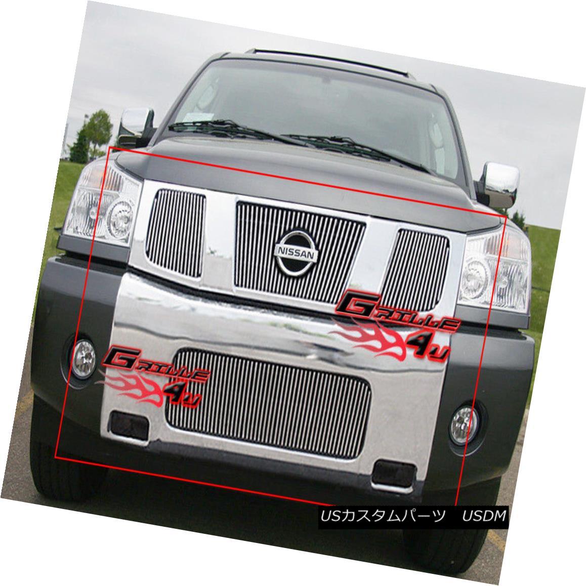 グリル For 04-07 Nissan Titan/Armada Vertical Billet Grille Combo 04-07日産タイタン/陸軍垂直ビレットグリルコンボ用