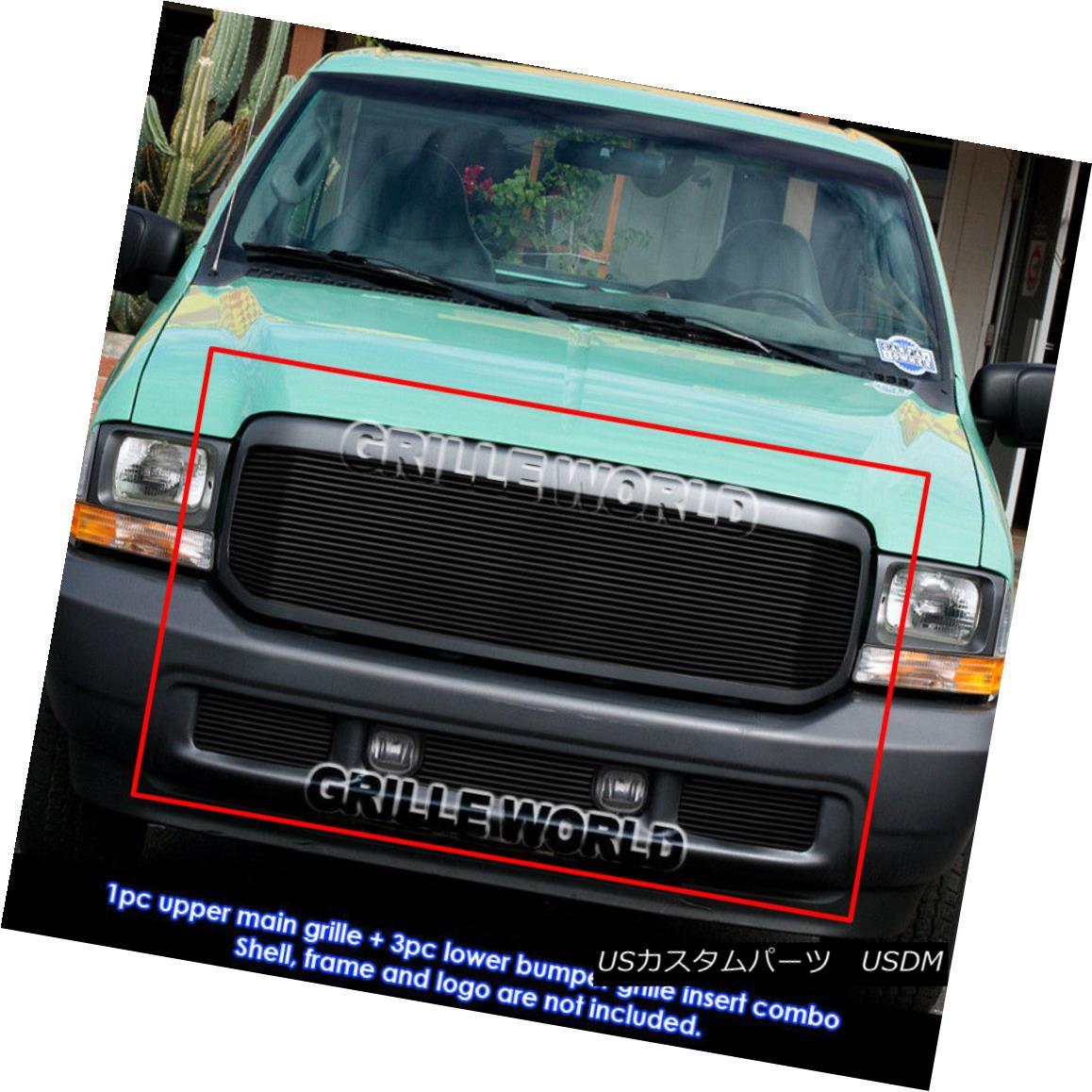 グリル For 99-04 Ford F-250/F-350 Super Duty Black Billet Grille Grill Combo Insert 99-04フォードF-250 / F-350スーパーデューティブラックビレットグリルグリルコンボインサート用