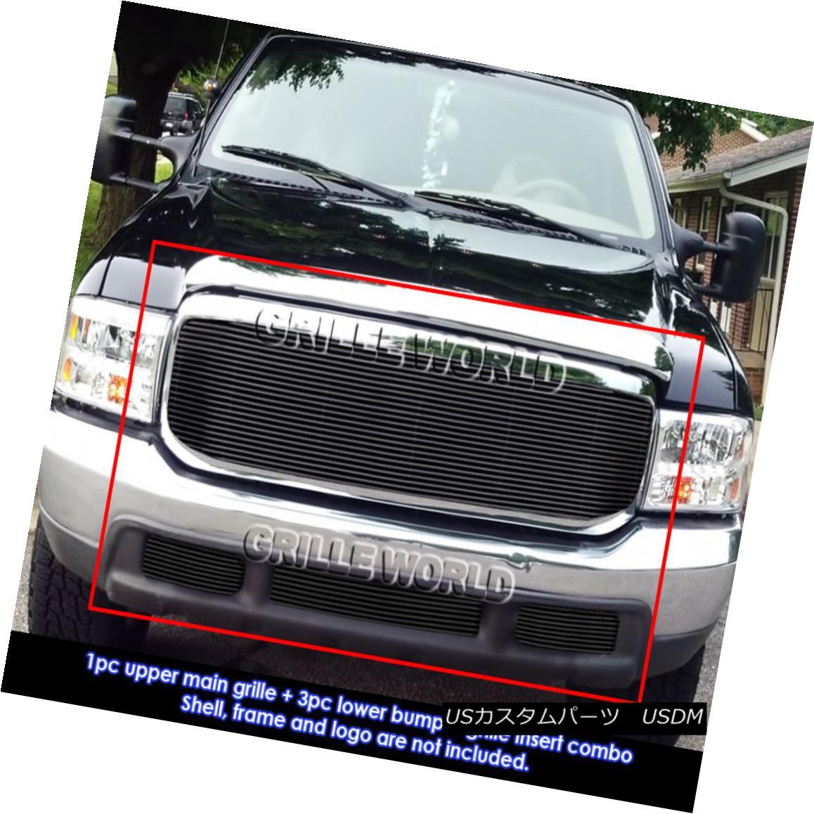 グリル Fits 99-04 Ford F-250/F-350 Super Duty Black Billet Grille Grill Combo Insert フィット99 - 04フォードF - 250 / F - 350スーパーデューティブラックビレットグリルグリルコンボインサート