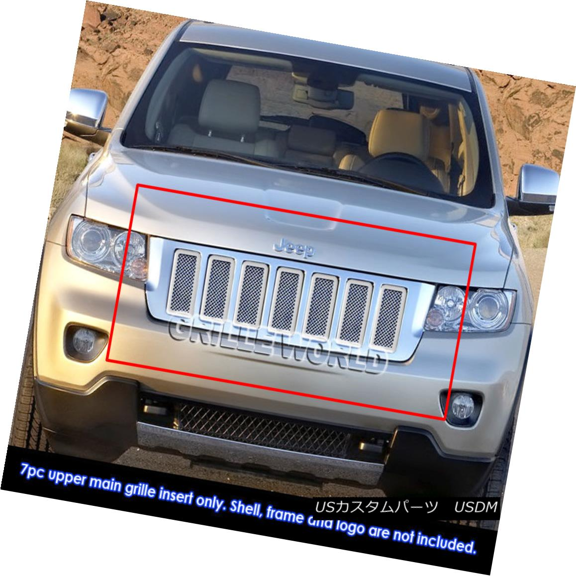 グリル For 2011-2013 Jeep Grand Cherokee Stainless Steel Mesh Grille Grill Insert 2011-2013ジープグランドチェロキーステンレスメッシュグリルグリルインサート