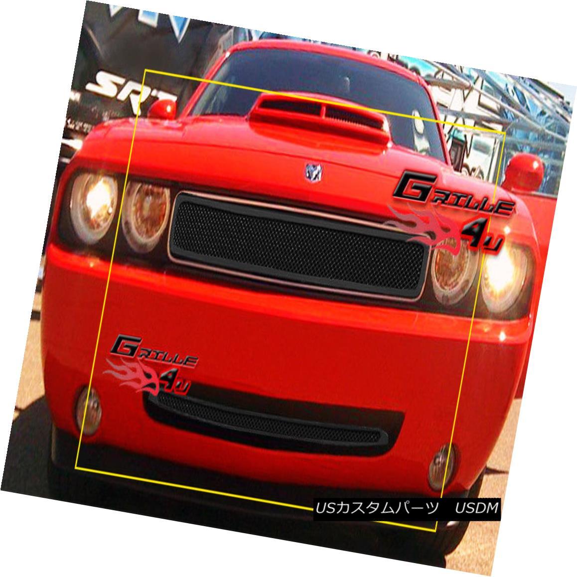 グリル For 09-10 Dodge Challenger Black Stainless Steel Mesh Grille Combo 09-10ドッジチャレンジャーブラックステンレスメッシュグリルコンボ用