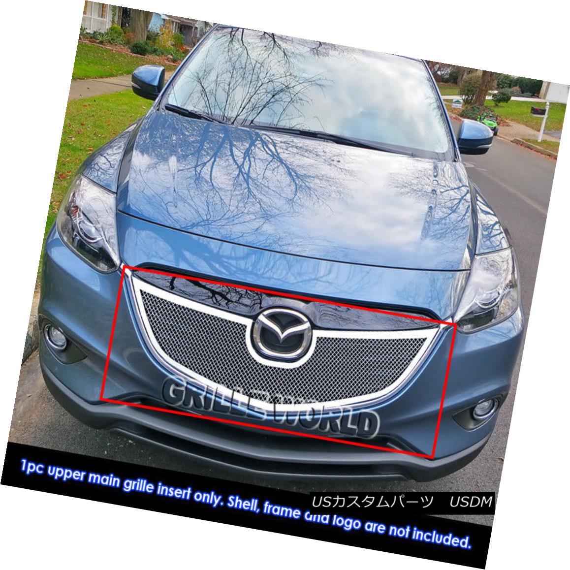 グリル Fits 2013-2015 Mazda CX-9 Stainless Steel Mesh Grille Insert Mazda CX-9ステンレスメッシュグリルインサート