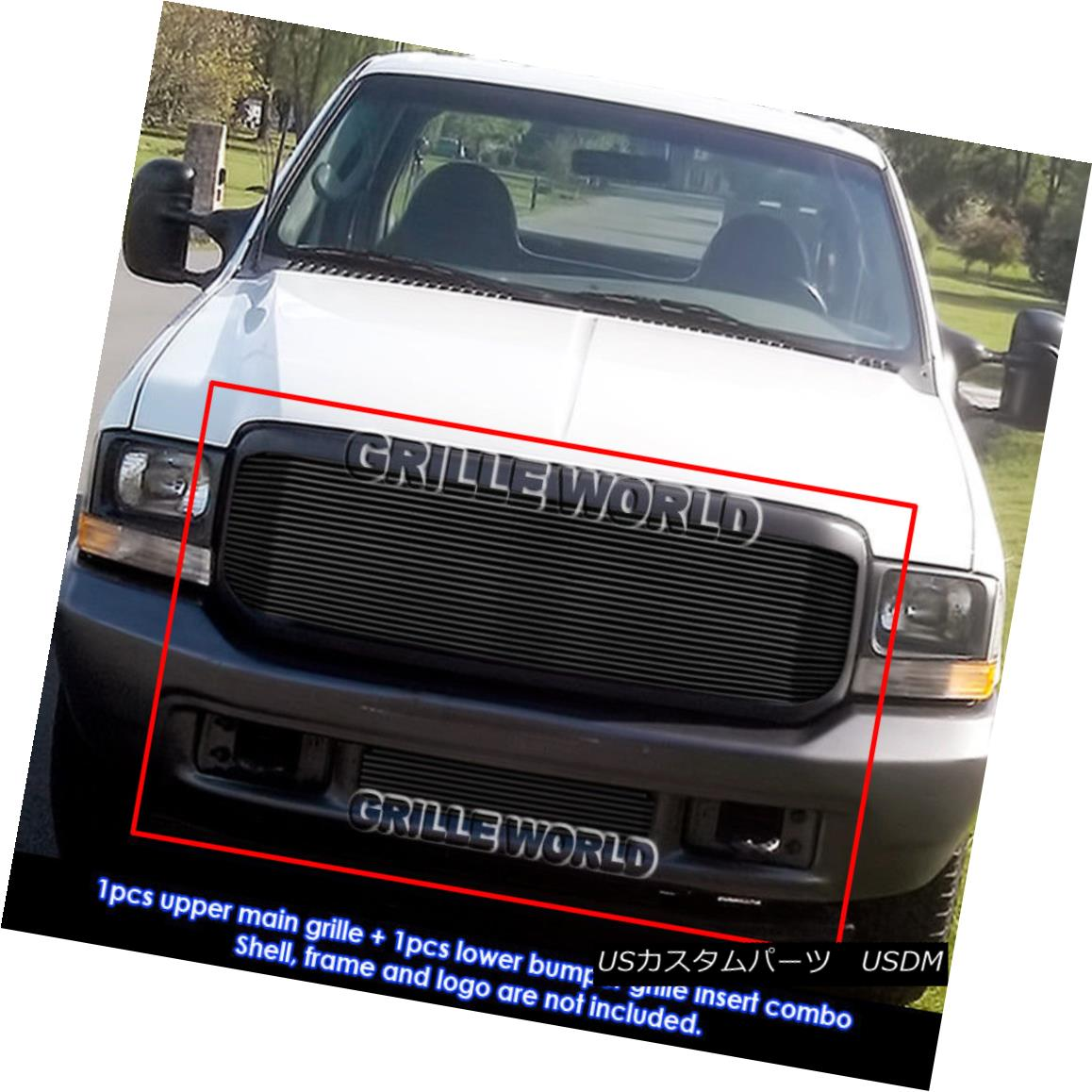 グリル Fits 99-2004 Ford F250/F350/2000-2004 Excursion Black Billet Grille Grill Combo フィット99-2004 Ford F250 / F350 / 2000 -2004エクスカーションブラックビレットグリルグリルコンボ