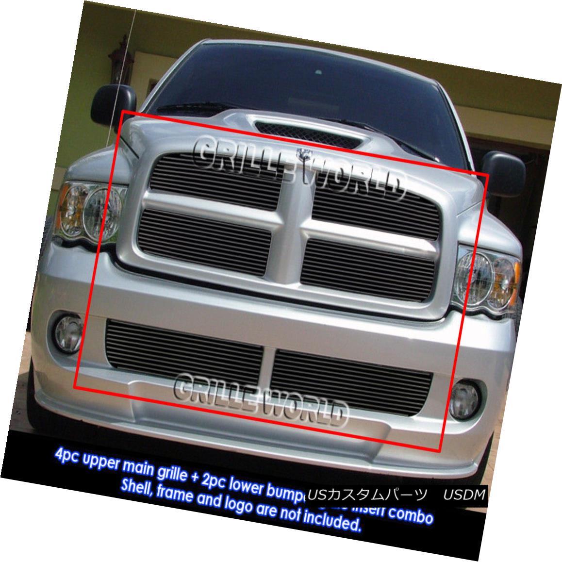 グリル For 2004-2005 Dodge Ram SRT 10 Bolt Over Black Billet Grill Insert Combo 2004-2005ドッジラムSRT 10ボルトオーバーブラックビレットグリルインサートコンボ用