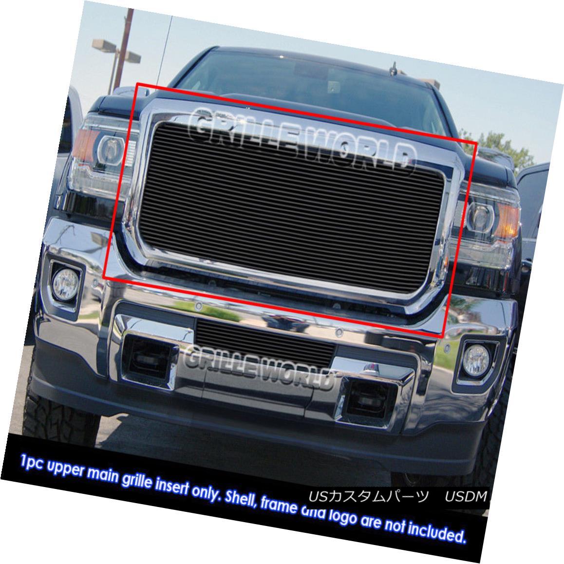 グリル Fits 2015-2018 GMC Sierra 2500/3500 Main Upper Black Billet Grille Insert フィット2015-2018 GMC Sierra 2500/3500メインアッパーブラックビレットグリルインサート