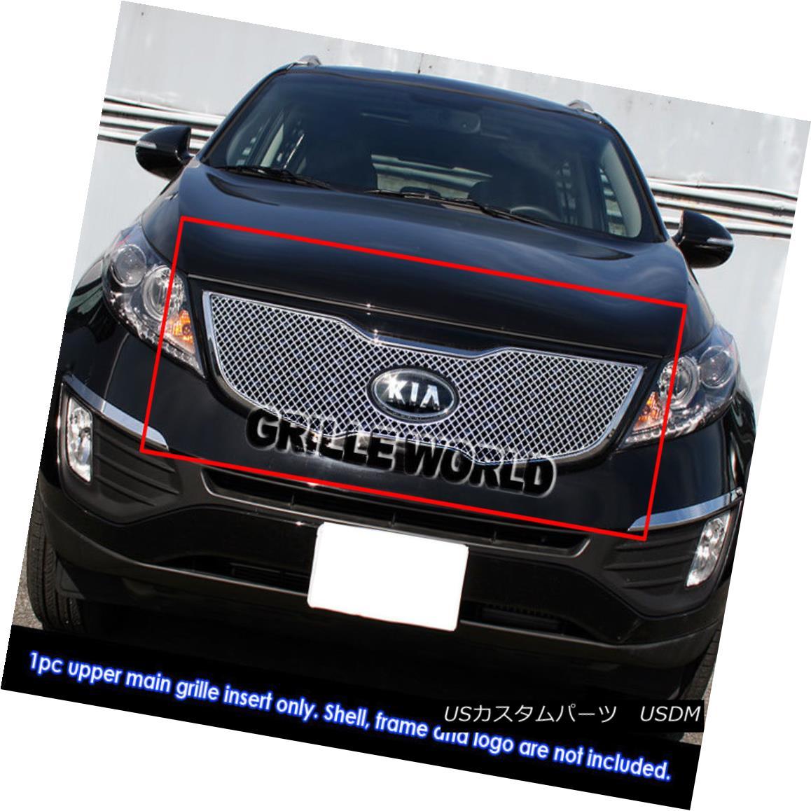 グリル Fits 2011-2014 Kia Sportage SX Stainless Micro-Frame Chrome X Mesh Grille Insert フィット2011-2014 Kia Sportage SXステンレスマイクロフレームクロームXメッシュグリルインサート