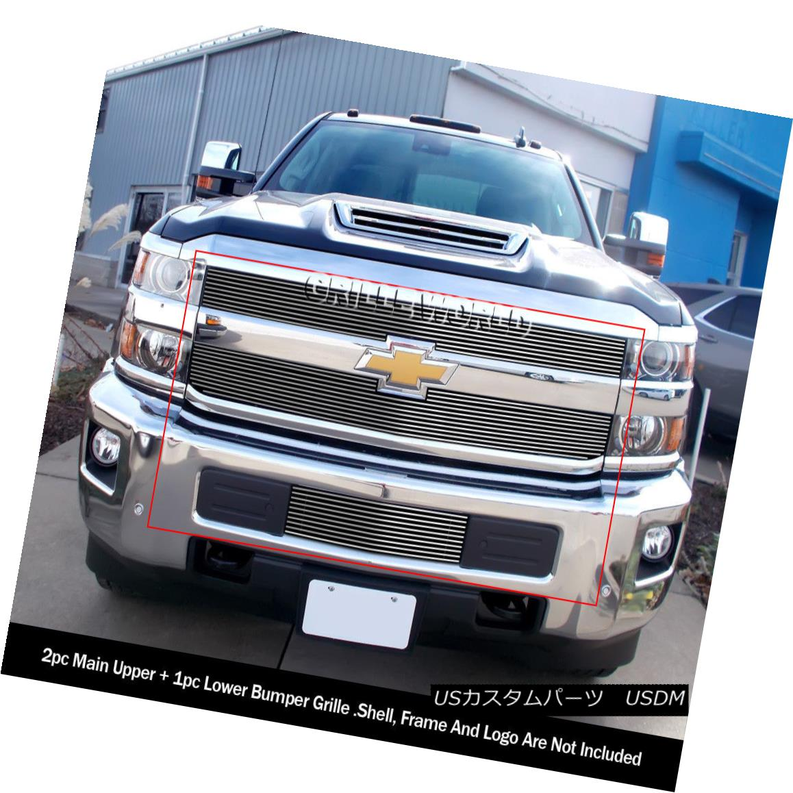 グリル For 2015-2018 Chevy Silverado 2500HD/3500HD Billet Grille Combo 2015-2018 Chevy Silverado 2500HD / 3500HDビレットグリルコンボ用