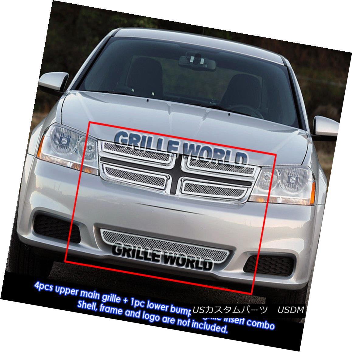 グリル For 2011-2014 Dodge Avenger Stainless Steel Mesh Grille Grill Combo Insert 2011-2014年ダッジアヴェンジャーステンレスメッシュグリルグリルコンボインサート