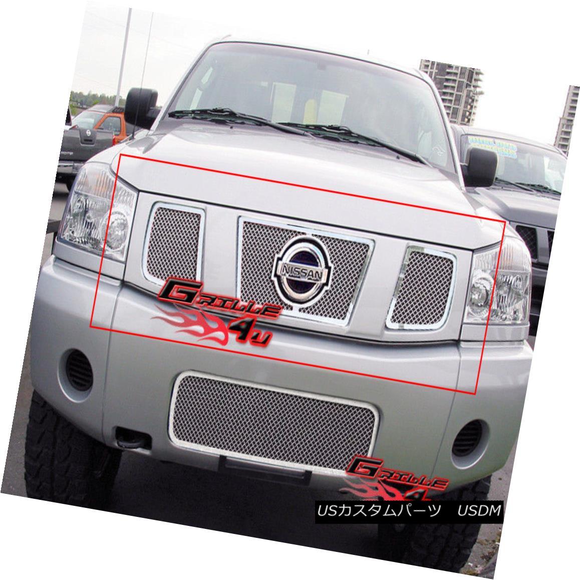 グリル For 04-07 Nissan Titan/Armada Stainless Steel Mesh Grille 04-07 Nissan Titan / Armadaステンレスメッシュグリル用