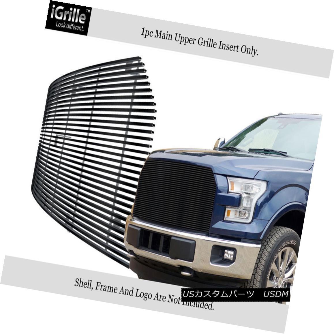 グリル Fits 2015-2017 Ford F-150 Stainless Steel Replacement Black Billet Grille Insert フィット2015-2017フォードF-150ステンレススチール交換ブラックビレットグリルインサート