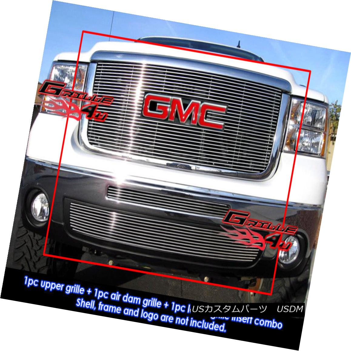 グリル For 07-10 GMC Sierra 2500HD/3500HD Billet Grille Combo 07-10 GMC Sierra 2500HD / 3500HDビレットグリルコンボ用