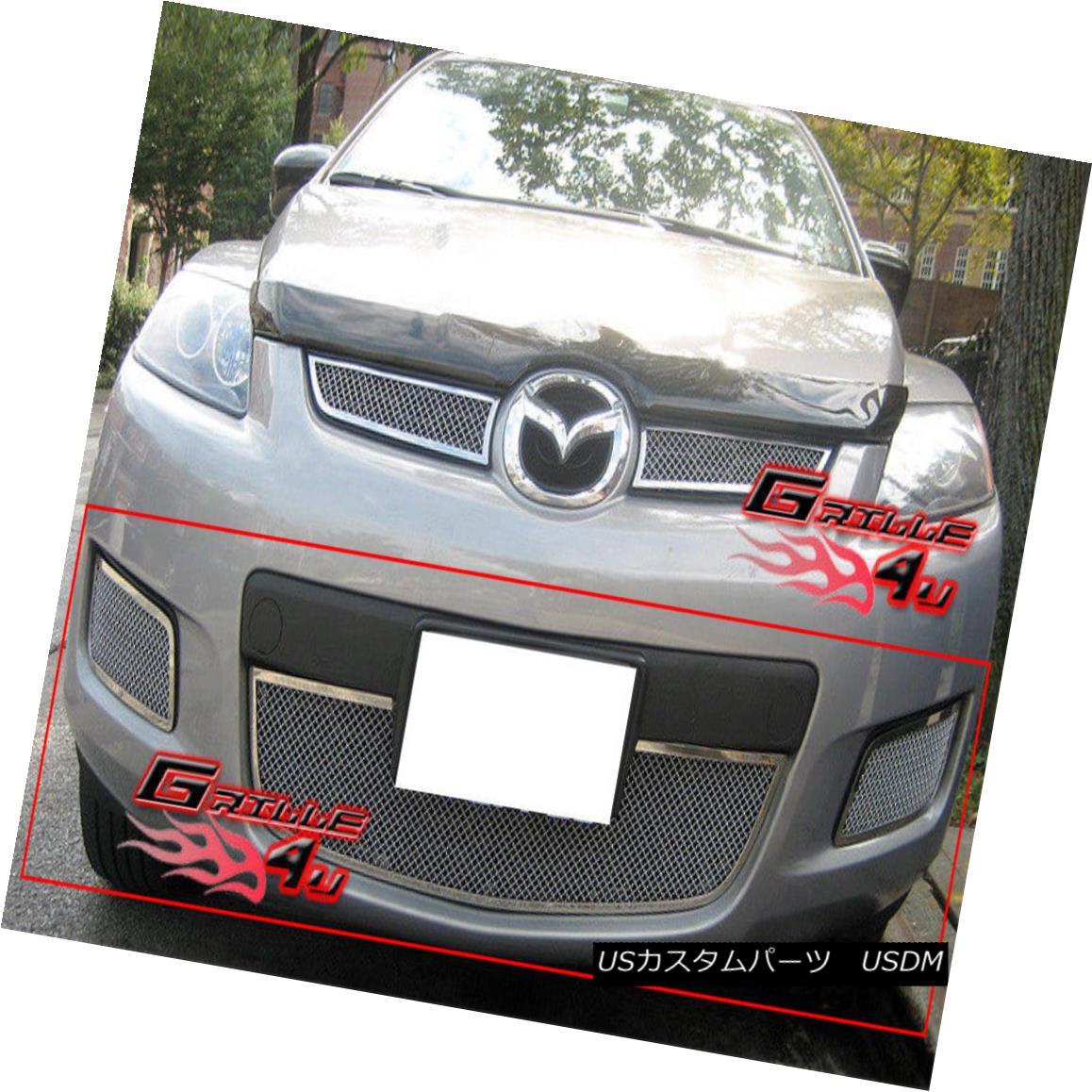グリル For 07-09 Mazda CX-7 Bumper Stainless Mesh Grille Insert 07-09マツダCX-7バンパーステンレスメッシュグリルインサート