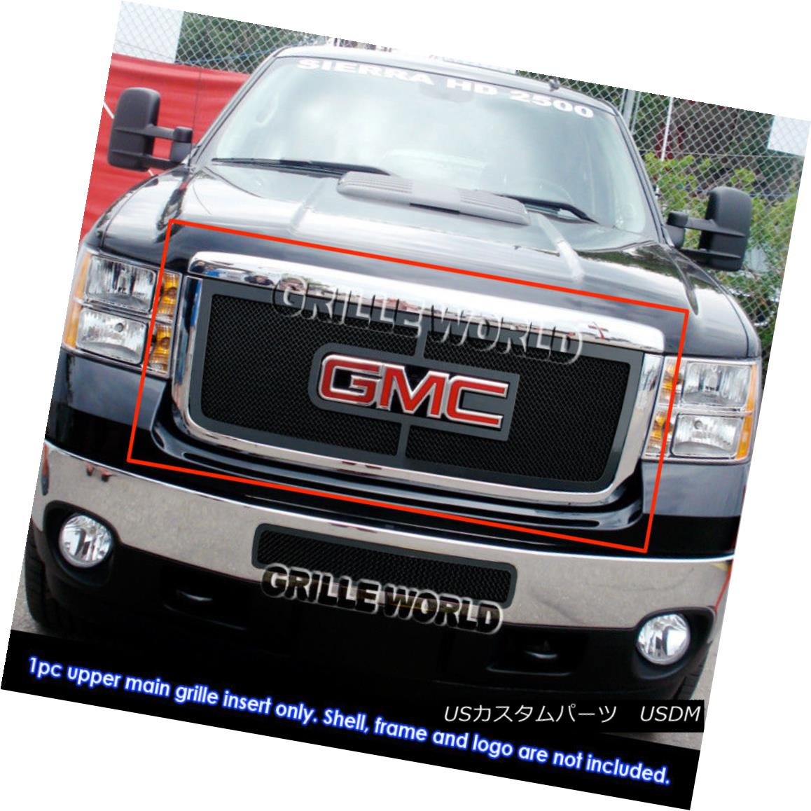 グリル For 2011-2014 GMC Sierra 2500HD/3500HD Black Stinless Steel Mesh Grille Grill 2011-2014 GMC Sierra 2500HD / 3500HDブラックステンレスメッシュグリルグリル