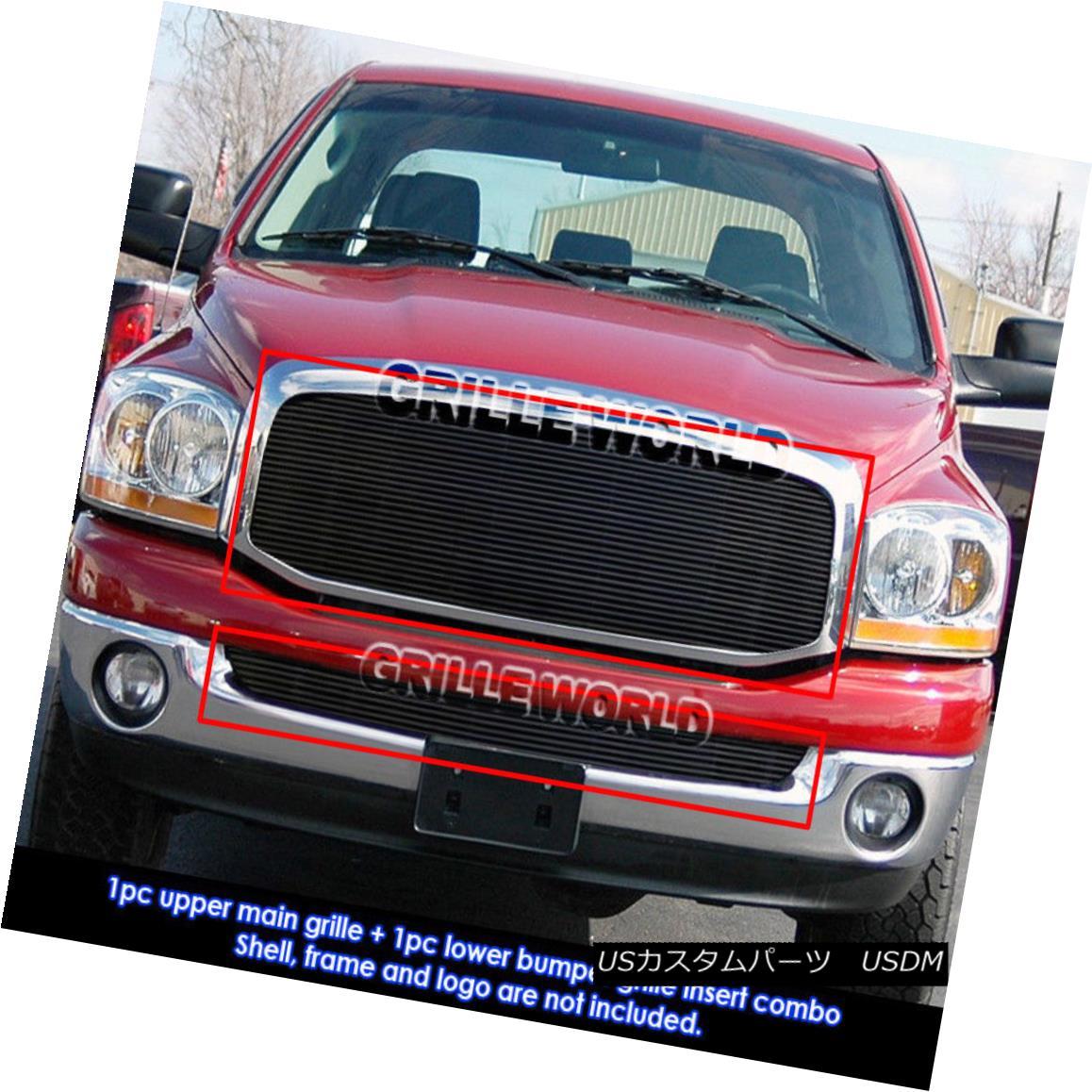 グリル For 06-08 Dodge Ram Regular Model Black Billet Grille Combo 06-08ダッジラムレギュラーモデルブラックビレットグリルコンボ用