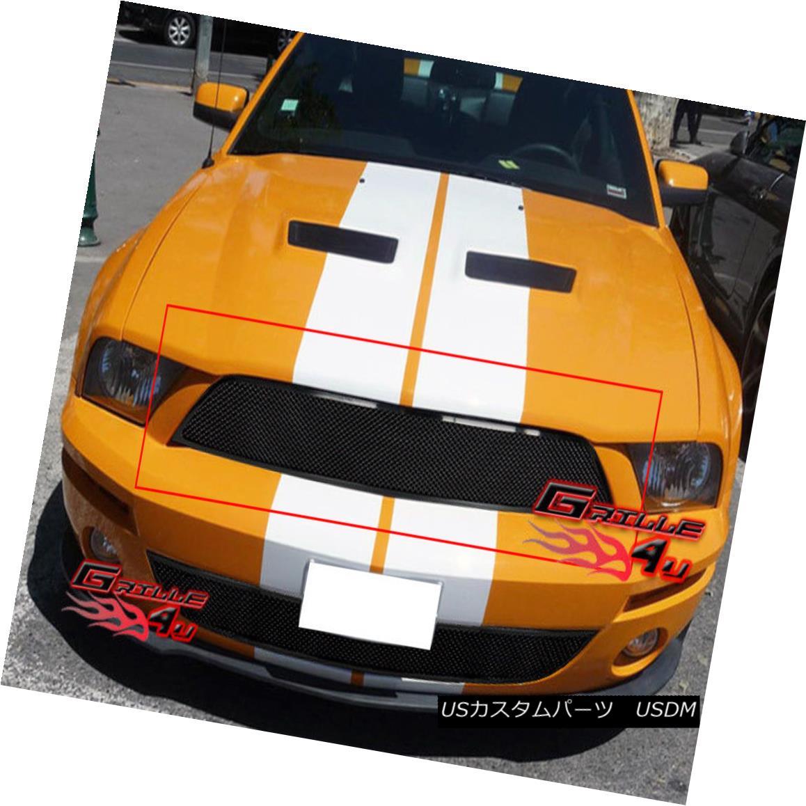 グリル For 07-09 Ford Shelby Black Stainless Steel Mesh Grille 07-09 Ford Shelby Blackステンレススチールメッシュグリル