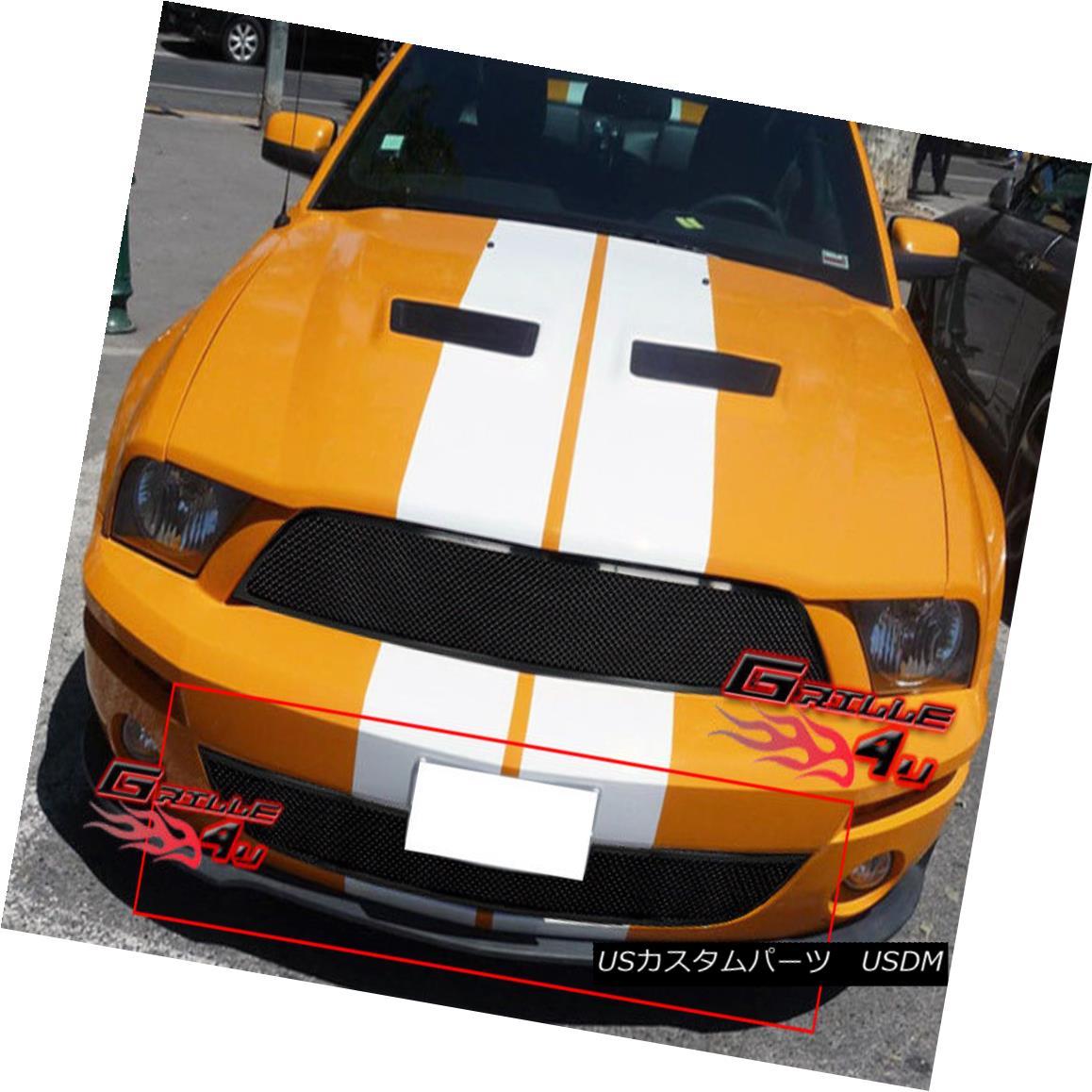 グリル For 07-09 Ford Shelby Bumper Black Mesh Stainless Grille 07-09フォードシェルビーバンパーブラックメッシュステンレスグリル