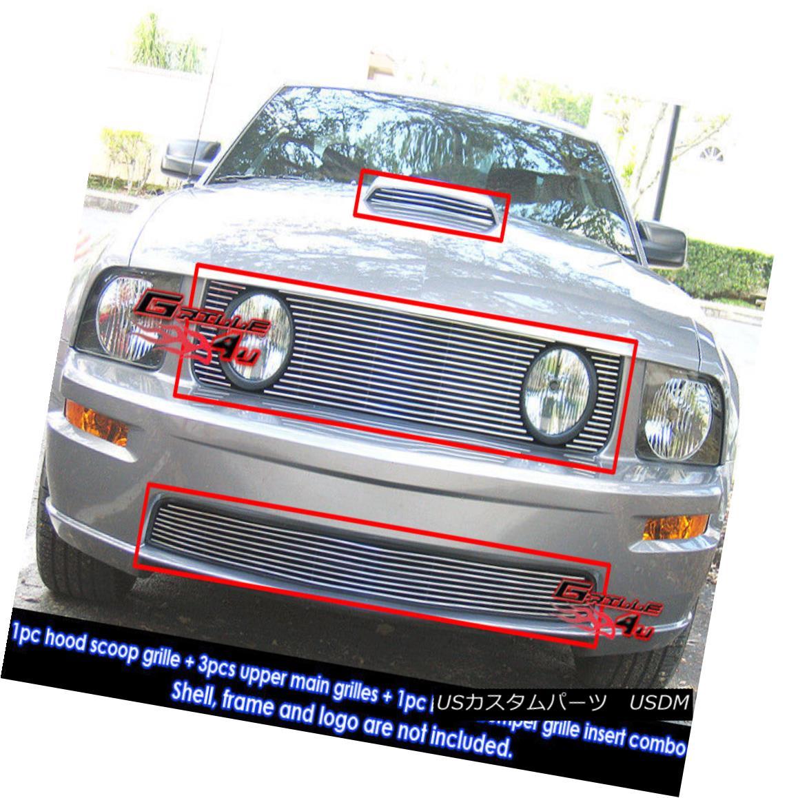 グリル For 05-09 Ford Mustang GT V8 Billet Grille Combo Insert 05-09フォードマスタングGT V8ビレットグリルコンボインサート