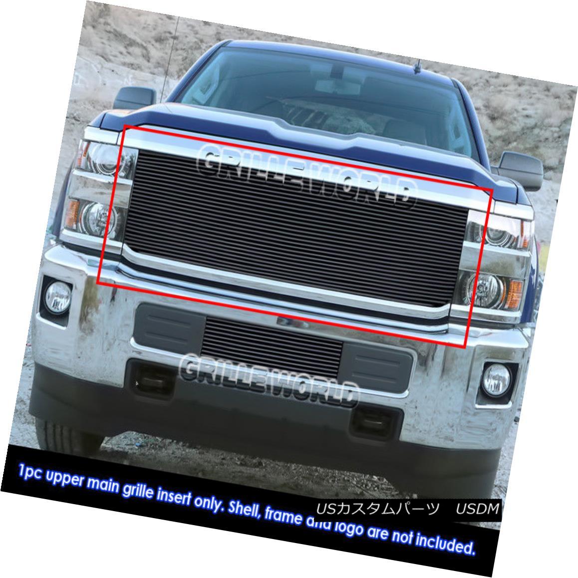 グリル Fits 2015-2018 Chevy 2500HD/ 3500HD Main Black Billet Grille Insert フィット2015-2018 Chevy 2500HD / 3500HDメインブラックビレットグリルインサート