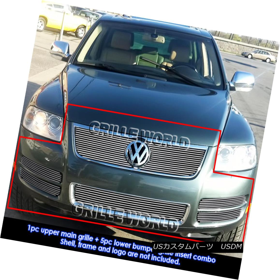 グリル For 2003-2007 VW Touareg With Chrome Trim V8 Billet Grille Grill Combo Insert 2003-2007 VW Touareg With ChromeトリムV8ビレットグリルグリルコンボインサート