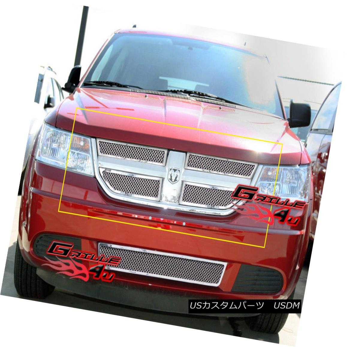 グリル For 09-10 Dodge Journey Stainless Mesh Grille Insert 09-10 Dodge Journeyステンレスメッシュグリルインサート