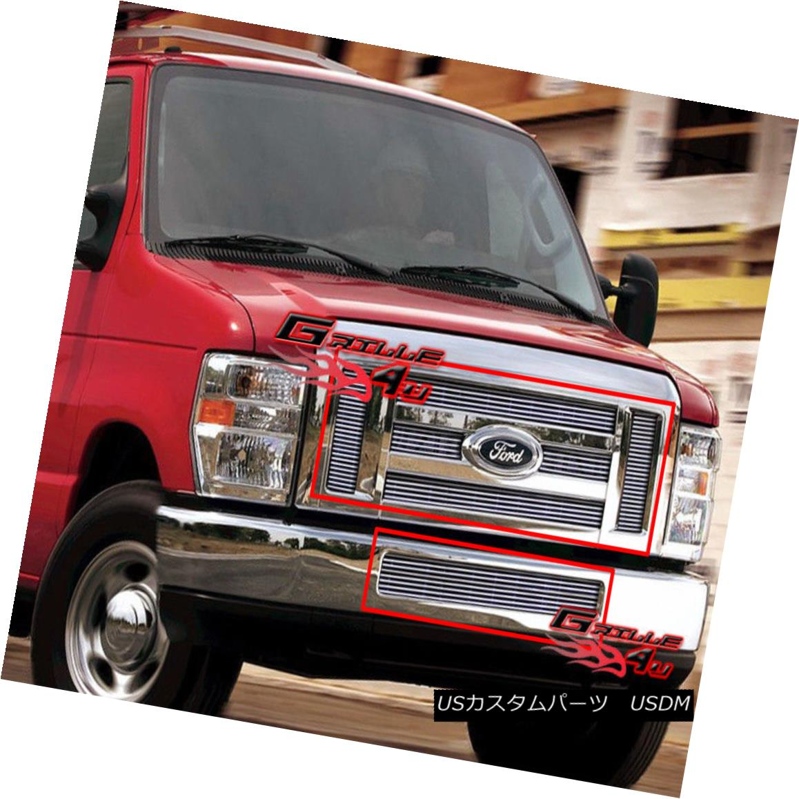グリル For 08-2014 Ford Econoline Van/E-Series Billet Grille Combo 08-2014 Ford Econoline Van / Eシリーズビレットグリルコンボ用