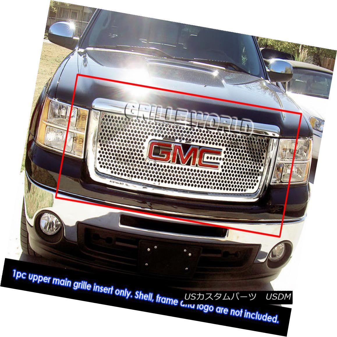 グリル For 07-11 2011 GMC Sierra 1500 Stainless Steel Punch Grille 07-11 2011年GMC Sierra 1500ステンレススチールパンチグリル